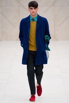 Writers and Painters // SPRING 2014 MENSWEAR Burberry Prorsum - red, blue, aqua, yellow ochre