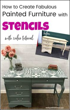 Vintage Furniture Create a painted furniture masterpiece by adding unique stencil patterns from Cutting Edge Stencils. Large wall stencils work great for furniture makeovers. Shabby Chic Bedroom Furniture, Bedroom Furniture Makeover, Painted Bedroom Furniture, Diy Furniture Projects, Refinished Furniture, Furniture Stencil, Bedroom Décor, Diy Projects, Painted Furniture For Sale