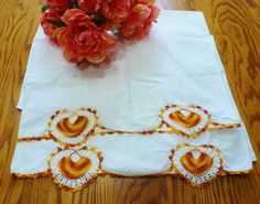 Vintage Pillowcases Bedding Orange and White by vintagelady7