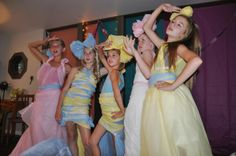 Project Runway Birthday Party - outfits made out of plastic tablecloths and tape. Awesome!!