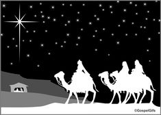 Christian Clip Art Christmas Image – Three Wise Men in Black and White (image 2)