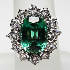 Vintage Cocktail Ring Blue Green Tourmaline & Diamond Ring Solid 18K White Gold