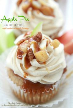 The BEST Apple Pie Cupcakes with a creamy Salted Caramel Buttercream Frosting. Tastes like a sweet apple pie in cupcake form. So EASY, delicious & addictive