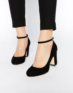 asos summer heels - a block heel & an ankle strap. #anklestrapsheelsblack