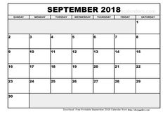 free printable monthly calendar 2018 with space for notes 2018 Printable Calendar, Printable Calendar Template, Free Printables, Monthly Calendars, September Calendar 2018, Calendar 2020, December, Moon Phases