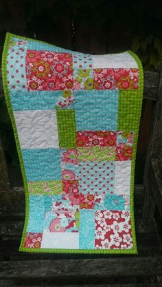 handcrafted Quilted Table Runner Bright floral home by Joanna1966