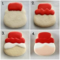 Tutorials How to Make Mrs. Claus Cookies 1 by juliet Tutorials How to Make Mrs. Claus Cookies 1 by juliet Santa Cookies, Christmas Sugar Cookies, Iced Cookies, Christmas Sweets, Royal Icing Cookies, Cookie Frosting, Holiday Cookies, Cupcake Cookies, Christmas Baking