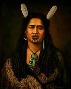 Maori Portraits by Gottfried Lindauer @ ShockBlast Polynesian People, Polynesian Art, Polynesian Culture, Native Tattoos, Maori People, Maori Words, New Zealand Art, Maori Tattoo Designs, Nz Art