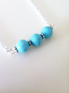 Turquoise Blue Howlite Stone Bar Necklace Choker by 2012BellaVida