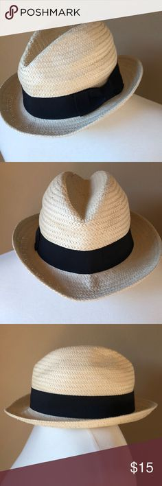 Straw Fedora Beach Hat w/ black band Straw Fedora Beach Hat w/ black band 4th pic shows minor snag on top of hat Accessories Hats