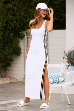 Metallic Track Stripe Dress by Beyond Proper. Elevate your street style.  Fix Clothing 8592b6be5