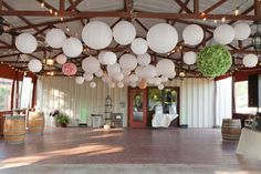 love this look with white lanterns and wooden framed ceilings! my dream!