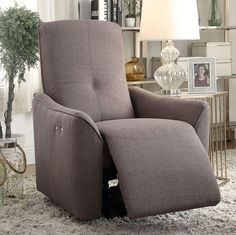 The Christopher Power Motion Recliner has a grey upholstery with a sleek frame. The tight seat and tight back add to the contemporary look. This power motion recliner would be a winning choice to add in your home. Dimensions: L x D x Recliner With Ottoman, Swivel Recliner, Living Room Chairs, Living Room Furniture, Kitchen Furniture, Dining Chairs, Wall Hugger Recliners, Acme Furniture, Furniture Online