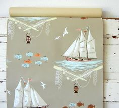 vintage wallpaper I want a pillow in this print, please. Cottage Wallpaper, Bathroom Wallpaper, Fabric Wallpaper, Cool Wallpaper, Room Maker, Vintage Style Wallpaper, Nautical Wallpaper, Coastal Decor, Coastal Cottage