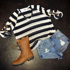 Striped Sweater // ripped jean shorts // camel combat boots // Miami boutique // fashion // fall fashion // @girlswillbegirls