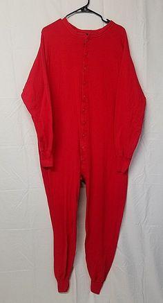 f8fad2a25a COMFOR-THERM Mens XL 1 Pc Red Union Suit Cotton Blend Cowboy PJS Butt Flap  EUC