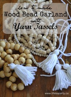 How to make Wood Bead Garland with Yarn Tassels: easy DIY for tassels and garland. Great way to add texture to home decor.