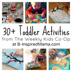 Over 30 Activities for Toddlers from The Kids Co-Op at B-InspiredMama.com.....fingerprint trees for Mother's Day Canvas?