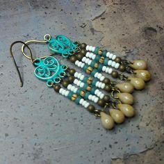 Boho chandelier earrings - turquoise white brown earrings - verdigris patina links - gypsy style - Handmade jewelry by Salakaappi Chandelier Earrings, Earrings Handmade, Turquoise Bracelet, My Etsy Shop, Jewellery, Boho, Trending Outfits, Unique Jewelry, Bracelets