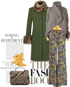 """Paisley pants and a green coat."" by clothesmonkey ❤ liked on Polyvore"