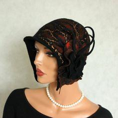 Black brown hat Felted hat  with brooch felt hat ♥ by ZiemskaArt