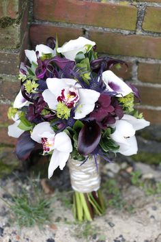 Purple , green and white Bouquet, Rustic  www.twistedwillowweddings.com