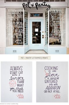 One Good Thing: Letterpress Prints from Pot + Pantry - Home - Creature Comforts Typography Inspiration, Typography Design, Design Inspiration, Daily Inspiration, Branding Design, Fortes Fortuna Adiuvat, Pop Up Shop, Julia Child Quotes, Boutique San Francisco