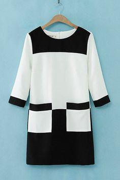 Black and White O-Neck Color Block Pockets Dress