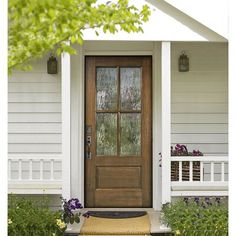Knockety Ready to Install Mahogany Wood Slab Front Entry Door Door Size: H x W x D, Finish: Owl Gray/Flemish Glass The Doors, Front Doors With Windows, Wood Front Doors, Front Door Colors, Glass Front Door, Front Door Decor, Farmhouse Front Doors, Cottage Style Front Doors, Front Porch