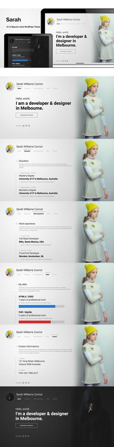 Resume CV Portfolio theme - Olivia Resume words, Wordpress and