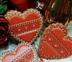 Valentines red needlepoint lace decorated hearts by Teri Pringle Wood