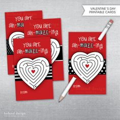 INSTANT DOWNLOAD Valentine's Day Cards. Maze and pencil Valentine Cards. Non-candy Valentine card. by BolandDesignPaperCo, $6.00