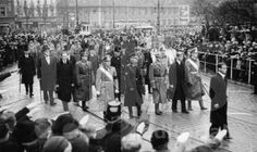 Sixteen-year-old Prince Philip, 2nd from right, at the funeral of his sister, Princess Cecilie of Hesse and by Rhine, and her family who were all killed in a plane crash in 1937.  Note the Nazi salutes in the crowd.  Cecilie, like all of Philip's sisters, was married to a German prince who supported Hitler.  For that reason Philip's 3 surviving sisters were not invited to his 1947 wedding to the daughter of the British king.