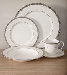 Flato 20 pc Bone China Platinum Border Dinnerware Dinner Set Service for 4 & Gordon Ramsay 16-Piece Bread Street Dinnerware Set Slate | Dishes ...
