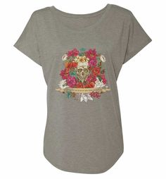 """Fortune Favours The Bold"" Flower Skull Women's Tri-Blend Tee"