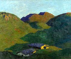 Alfons Walde*  (Oberndorf 1891 - 1958 Kitzbühel)  Herbst auf der Alm Landscape Art, Mountains, Paintings, Color, Vintage, Russian Painting, Fall, Paint, Painting Art