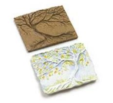 """Create simple tools that can be pressed into clay, used for embossing, texture rubbing or printmaking. Wonder-Cut Linoleum is 1/4"""" deep — providing plenty of depth for carving a variety of textures and dimensions and making incredibly detailed impressions. Dick Blick Lesson"""