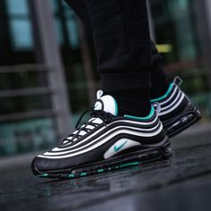 Nike Air Max 97 Black White Clear Emerald Men's Trainers - Genuine UK for sale online Nike Air Max, Air Max 97, New Nike Air, Nike Tenis, Zapatillas Nike Air, Mens Trainers, Sneakers Fashion, Fashion Shoes, Fashion Black