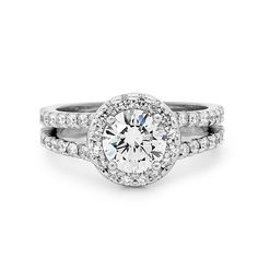Round Brilliant Engagement Ring with Halo and Split Band