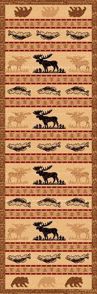 "(PW-LODGE361-2x7) ""Moose, Bear & Fish"" Cabin Area Rug - 2 x 7"