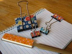 ***DONE*** 5 stars!  Binder clips covered in fabric. Genius way to meld my love of office supplies with vintage fabric.