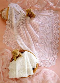 This PDF Knitting Pattern is for this beautiful Baby Shawl in a timeless heirloom design. it will be 36 x 36 (3 ply) or 38 x 38 (4 ply) square when completed. Knitted in 3 and 4 ply wool.  Your PDF pattern is an instant download on payment. All of our patterns are water marked but still very easy to read