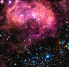 Space Image: Hubble telescope view of the Large Magellanic Cloud, beautiful pink, blue, black and orange colors. Carefully enhanced picture (with a special artistic treatment), looks like a realistic painting, the colors are more vivid and vibrant than in the original photo. Looks amazing as large print or poster, bring the universe in your home or office! Image credit for the original picture:  Credit for the original image: NASA, ESA and Jesús Maíz Apellániz