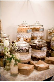 burlap and lace wedding cookie bar