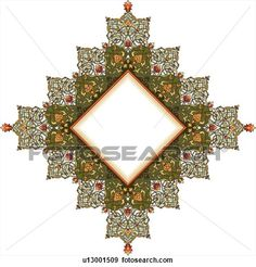 Green, orange and red flower pattern Arabesque frame with diamond center View Large Clip Art Graphic