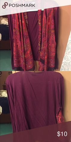 Light sweater/wrap Long sleeve, light sweater/cardigan. A matching tie goes around the waist. This is really cute with a lacy camisole underneath. Looks nice with black dress pants or jeans. Dress Barn Tops Blouses