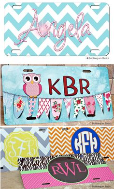 #Chevron Bling #Monogram License #Plate By Bubblegum Basics™...Great graduation gifts for that new driver, or for that established driver that wants a completely original car accessory!.... http://www.bubblegumbasics.com/chevron-bling-monogram-license-plate.html