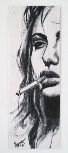 Smoking Woman, charcoal on wood (used wood of a winebox). Love the seductive glance..