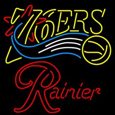 Rainier Philadelphia 76ers NBA Neon Beer Sign, Rainier with NBA | Beer with Sports Signs. Makes a great gift. High impact, eye catching, real glass tube neon sign. In stock. Ships in 5 days or less. Brand New Indoor Neon Sign. Neon Tube thickness is 9MM. All Neon Signs have 1 year warranty and 0% breakage guarantee.
