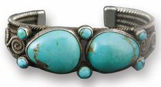 (Navajo Turquoise and Silver bracelet, c. 1920)  Information on collecting silver jewelry of the Navajo and Pueblo Indians Part I